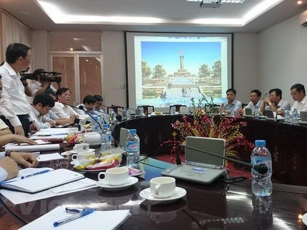 Quang cảnh buổi họp về khảo sát xây dựng cột cờ Hà Nội tại Cà Mau.