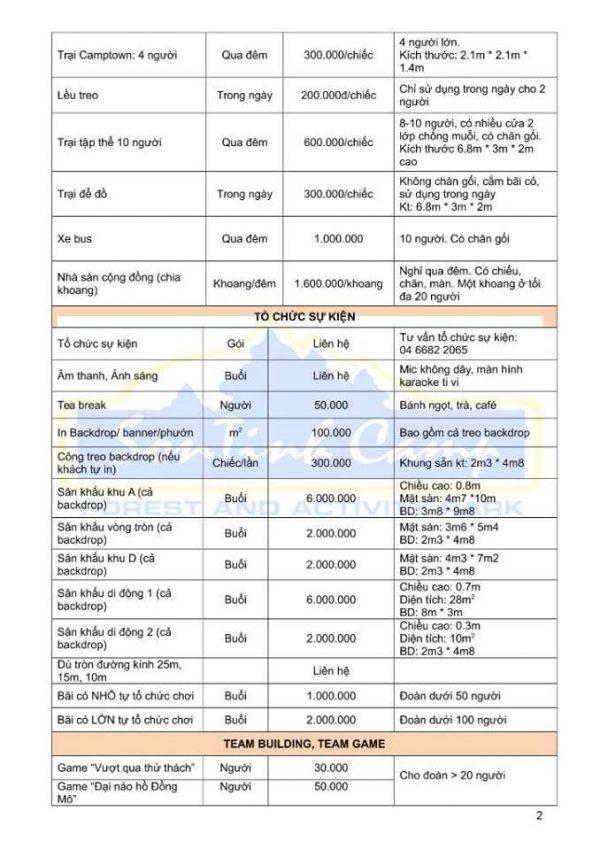 Bảng giá dịch vụ Sơn Tinh Camp